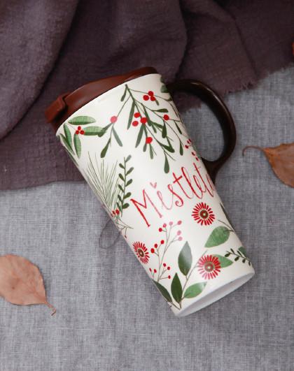 大容量陶瓷杯马克杯带盖水杯女家用简约办公室礼盒圣诞礼盒装杯子