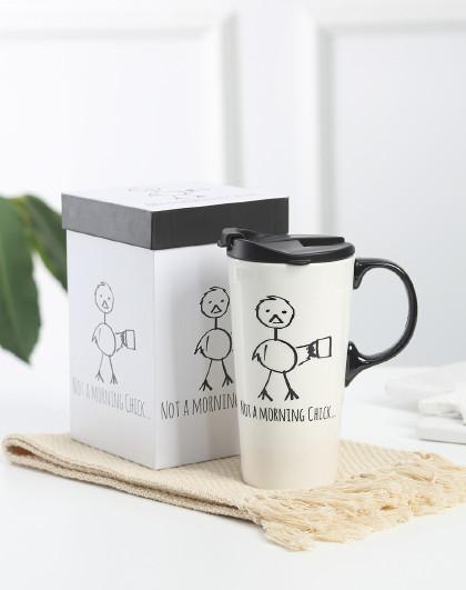 美式大容量带盖陶瓷杯马克杯家用杯子办公室送礼水杯女节日礼盒