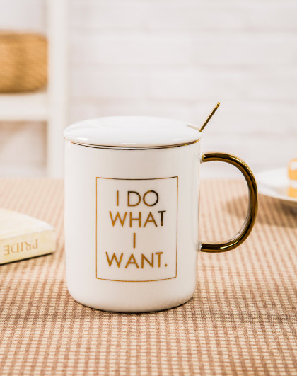 400ML北欧简约带盖勺陶瓷杯咖啡杯马克杯情侣单只