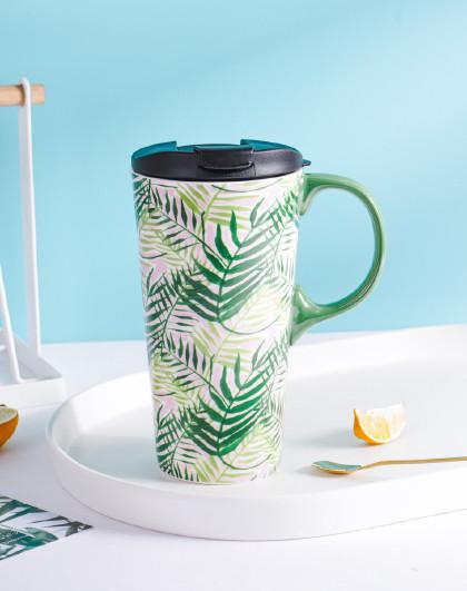 大容量陶瓷杯马克杯ins风杯子女咖啡杯带盖带手柄水杯早餐情侣