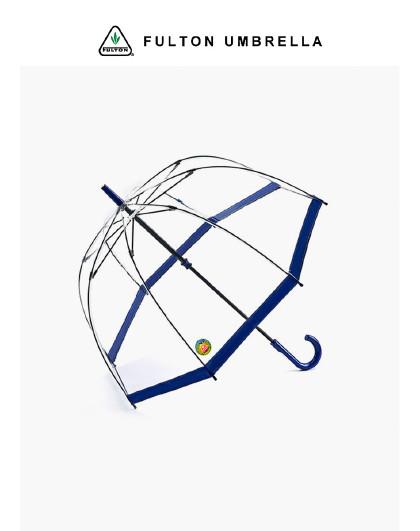 富尔顿 女王同款 轻奢透明防晒鸟笼伞拱形复古长柄伞直柄