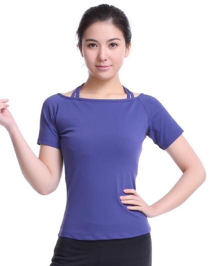 瑜伽服女2021初学者 挂脖锦纶款修身瑜伽T��运动跑步服T��