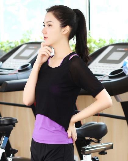菩�q 女款瑜伽服上衣T恤罩衫简约时尚修身显瘦跑步服健身服运动服