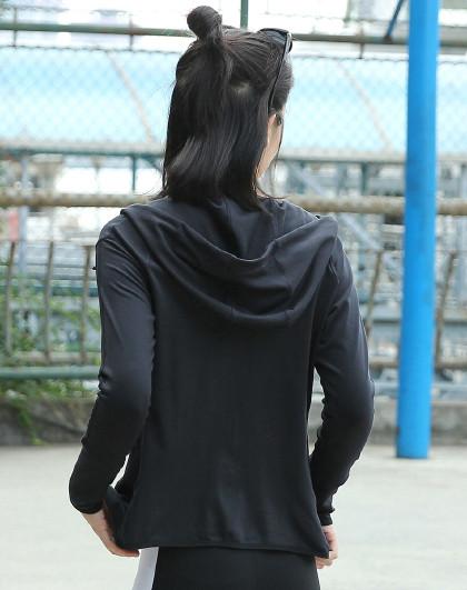 菩�q 【连帽拉链】开衫新款女装外套保暖瑜伽外套运动跑步健身服