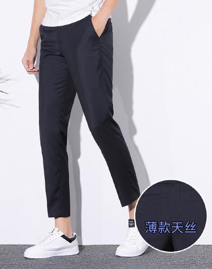 【舒适天丝】罗蒙男式新品时尚百搭简约休闲九分裤男式西裤