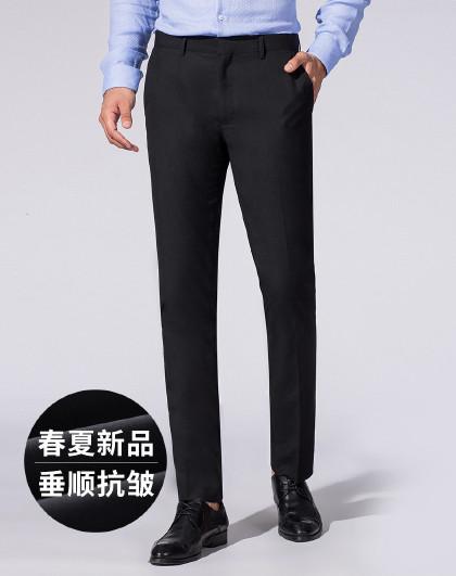 罗蒙 【抗皱免烫】西裤男春夏款男士正装商务通勤直筒修身长裤子男