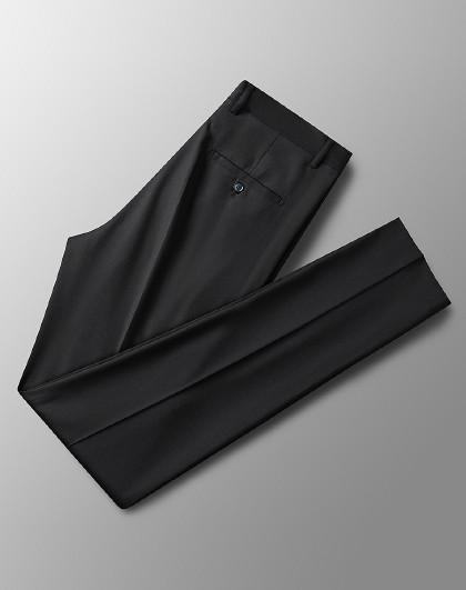 罗蒙 【顺滑犀牛褶】新品简约百搭舒适透气直筒裤子男士西裤