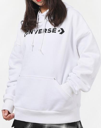 converse 匡威2021新款 大logo加绒保暖连帽女式卫衣女款运动套头衫