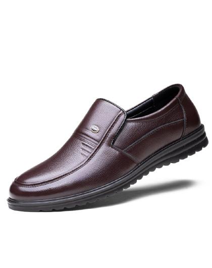 公牛世家 新款正装商务皮鞋一脚蹬防滑软底中老年爸爸鞋男士休闲皮鞋男鞋