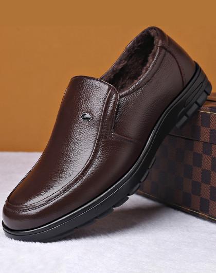 公牛世家 新款正装商务皮鞋子一脚蹬防滑软底中老年爸爸鞋男士休闲皮鞋男鞋
