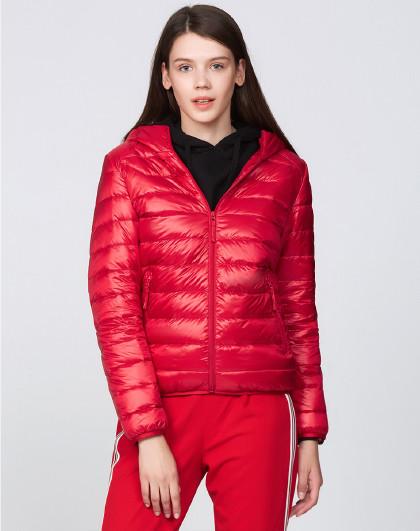 雪中飞2021春季女款休闲连帽宽松保暖轻薄短款羽绒服外套女