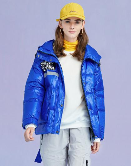 雪中飞冬季加绒短款外套时尚韩版潮流连帽保暖羽绒服