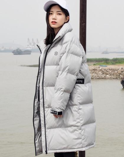 雪中飞羽绒服时尚潮流宽松加厚立领中长款男女情侣羽绒服外套