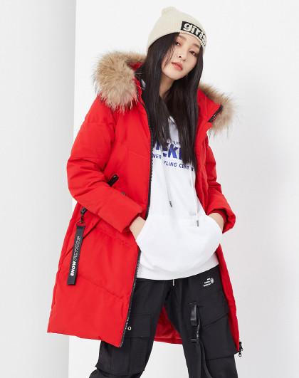 雪中飞简约温暖连帽大毛领加厚气质时尚女式羽绒服