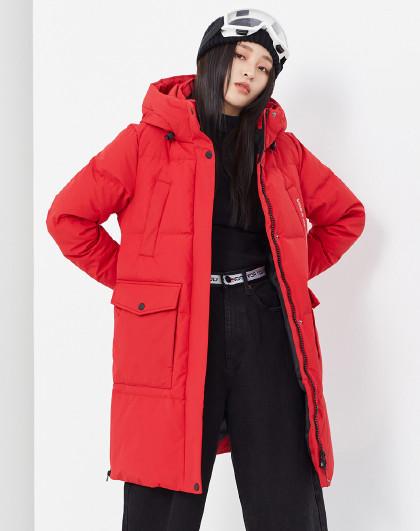 雪中飞秋冬简约温暖纯色连帽加厚大口袋时尚羽绒服