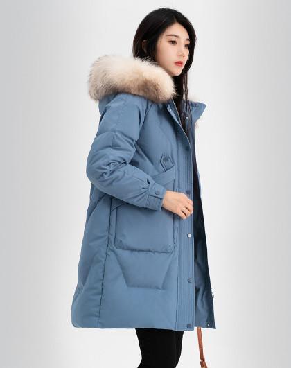 雪中飞羽绒服女2020秋冬收腰保暖舒适貉子毛领女式羽绒服中长款