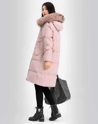 雪中飞羽绒服女秋冬时尚简约保暖可脱卸貉子毛领女式羽绒服中长款