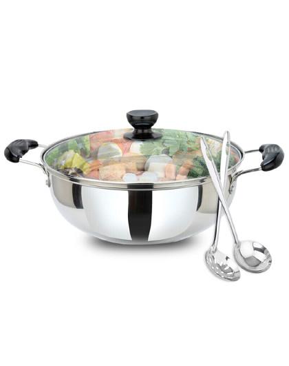 美厨 磁炉通用加厚家用厨具带盖304不锈钢大汤锅火锅鸳鸯火锅