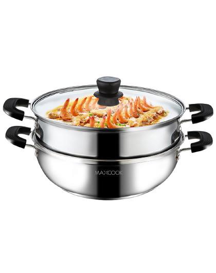 美厨 加厚复合底不锈钢二层火锅汤锅多用锅蒸锅