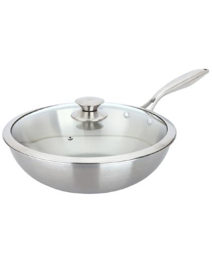 美厨 一体成型带盖锅具炉灶通用304不锈钢32cm炒菜锅炒锅