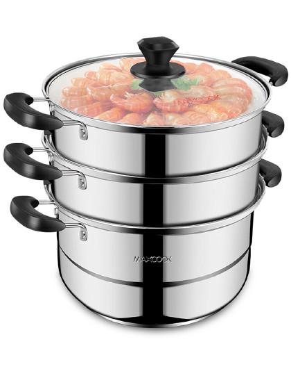 美厨 加厚复底蒸煮两用炉灶通用不锈钢三层28/30CM汤锅汤蒸锅蒸锅
