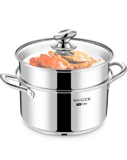 美厨 磁炉通用加厚复底304不锈钢26cm二层汤蒸锅蒸锅
