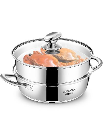 美厨 磁炉通用加厚复底304不锈钢26cm二层汤锅汤蒸锅蒸锅