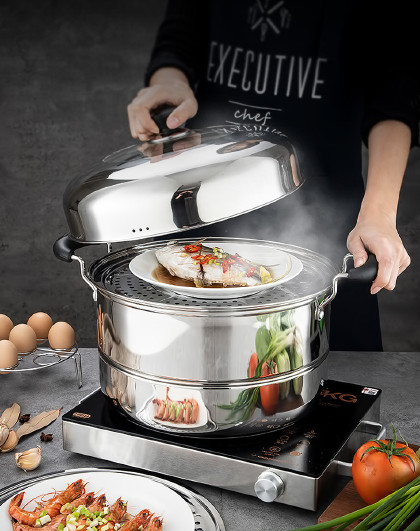美厨 蒸煮两用加厚三层复底不锈钢34cm二层蒸锅