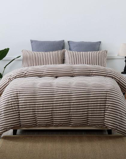 无印良品风全棉纯棉针织棉 天竺棉床笠款四件套 纯棉床上用品