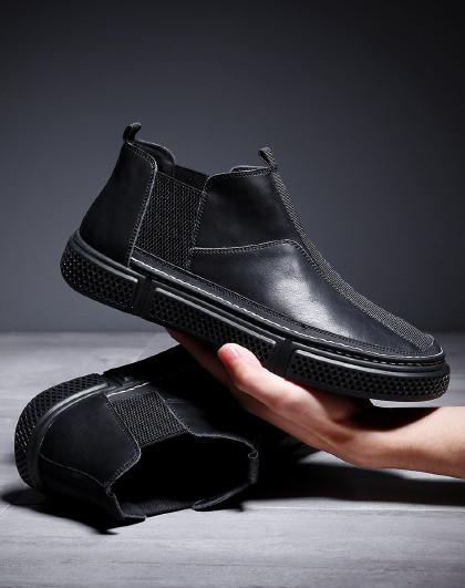 弗洛斯 【真皮】哈森旗下男鞋2021新品韩版鞋子男板鞋男士运动休闲鞋男