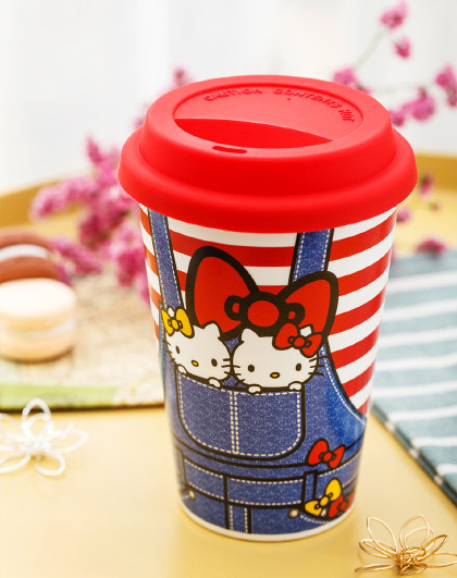 Hellokitty随手杯格林卡通陶瓷马克杯带盖送男生女生礼物喝水杯子