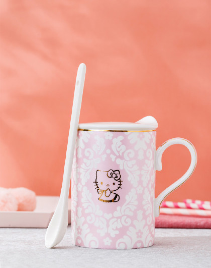 HELLO KITTY HelloKitty骨瓷杯子女可爱 少女马克杯带盖勺女朋友生日礼物