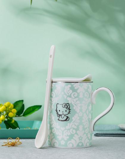 HelloKitty骨瓷杯子女可爱 少女马克杯带盖勺女朋友生日礼物