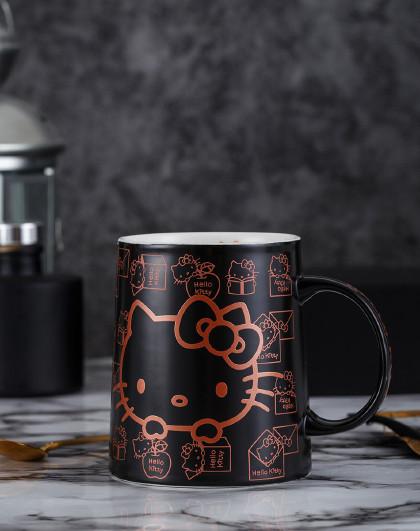 HelloKitty杯子创意个性潮流办公室马克杯带盖勺ins咖啡陶瓷杯