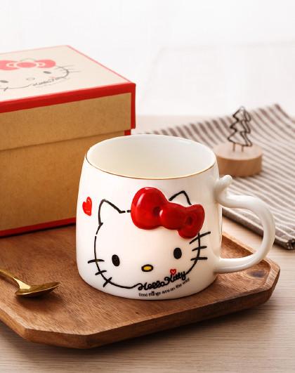 HelloKitty杯子陶瓷办公室情侣咖啡杯家用卡通喝水杯女可爱马克杯