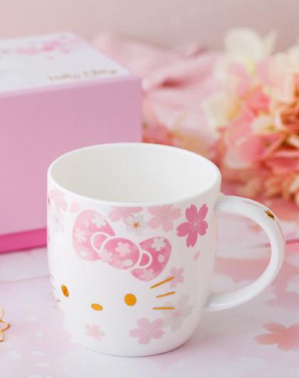 HelloKitty春季樱花杯子女可爱少女骨瓷马克杯办公室陶瓷喝水杯子