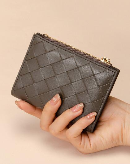 【简约出行】细腻羊皮男士女士钱包男女简约钱包编织钱包情侣卡包