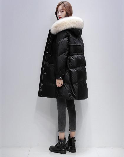 【狐狸毛领】中长款抽绳羽绒外套2020冬季休闲亮面羽绒服女