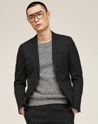 GXG 男款时尚潮流条纹西服(上装)