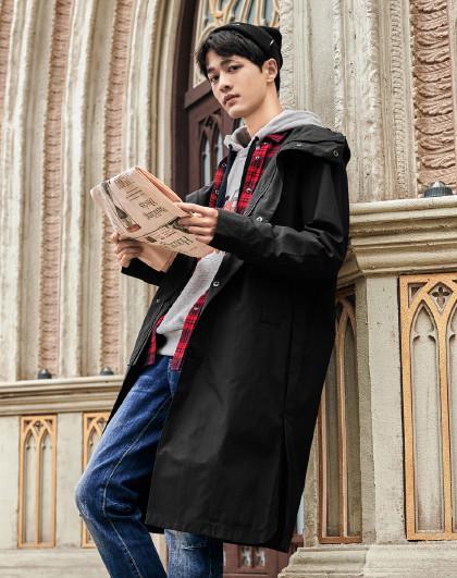 gxg.jeans 春季新款长款潮牌帅气青年复古印花连帽男式风衣
