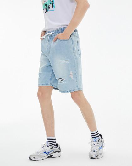 gxg.jeans 2020夏季新款水洗破洞男士牛仔裤短裤