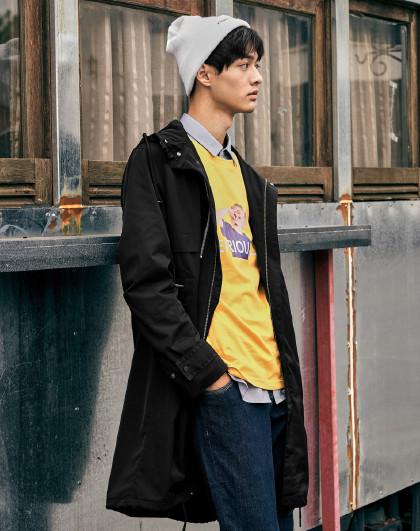 gxg.jeans 春季新款中长款连帽男士风衣
