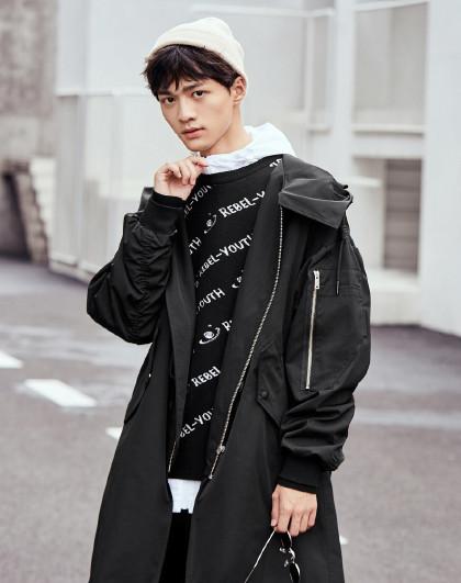 gxg.jeans 春季长款帅气韩版潮流简约中长款连帽男式风衣