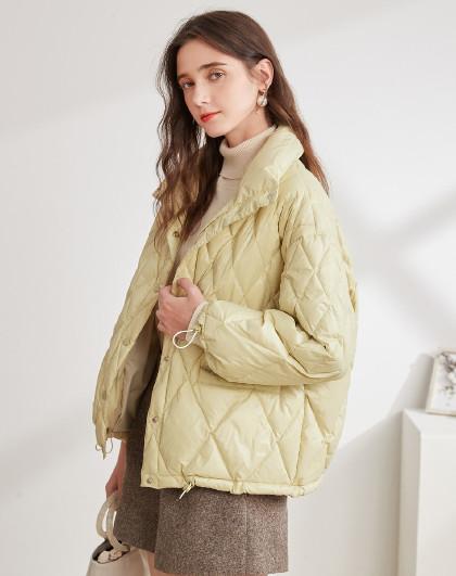新款立领菱格绗缝温暖白鸭绒轻薄羽绒服