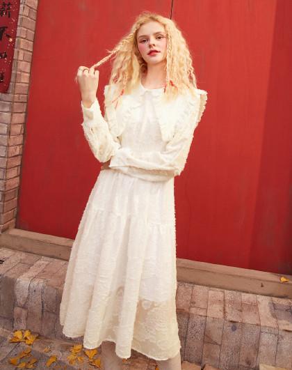妖精的口袋 2021春季新款娃娃领收腰连衣裙蕾丝雪纺休闲淑女风薄款套头A字裙