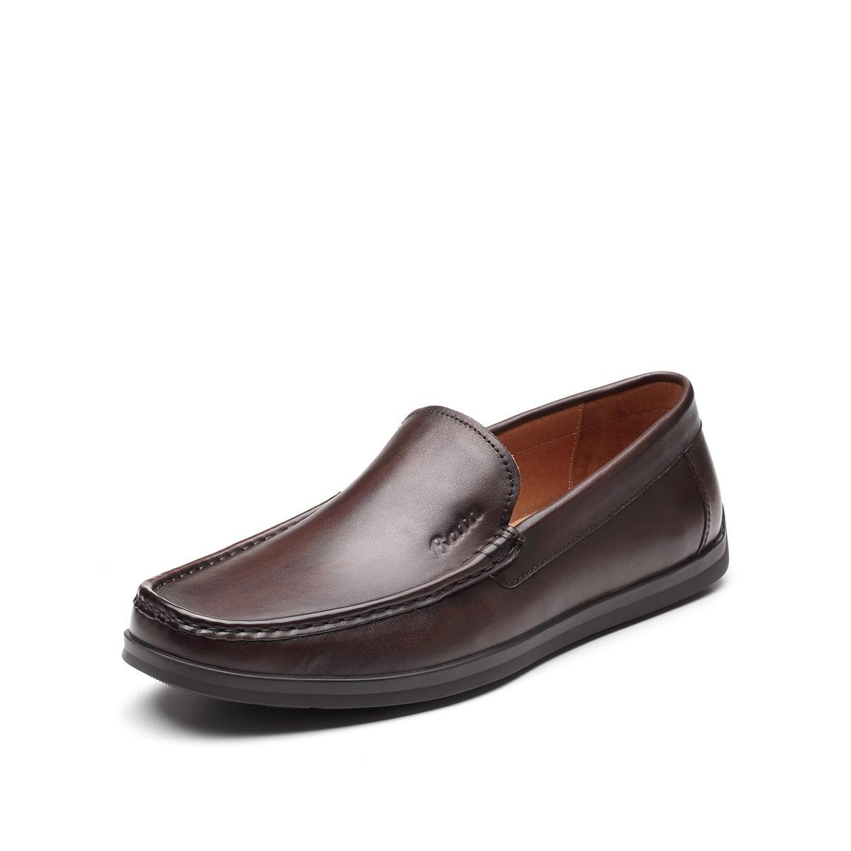 Bata 拔佳2019新款专柜同款牛皮鞋纯色懒人一脚蹬平底男鞋