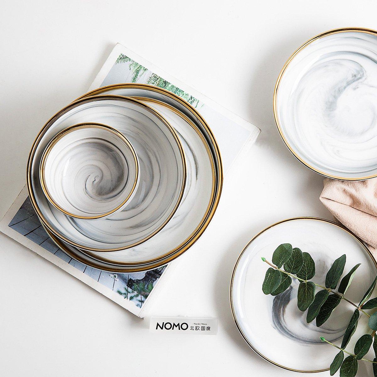 北欧国度 时尚家用纳维亚大理石纹电镀金边陶瓷汤碗盘餐具套装