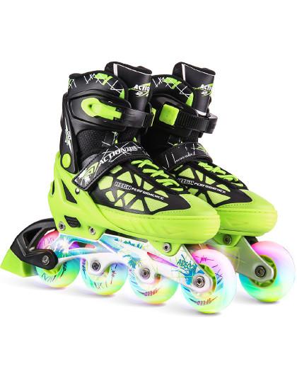 ACTION 溜冰鞋儿童初学者滑冰鞋男女轮滑鞋成人直排轮8轮全闪旱冰鞋可调
