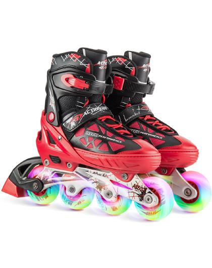 ACTION 溜冰鞋儿童可调轮滑鞋闪光滑冰鞋成人直排轮旱冰鞋153B-21